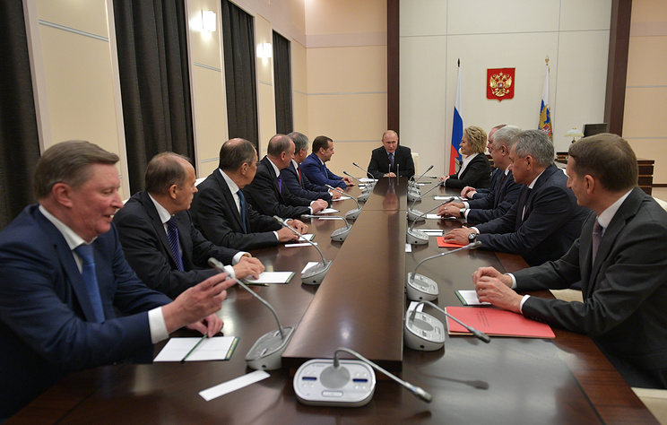 President of the Russian Federation Vladimir Putin chairs the Oct. 12, 2018 meeting of the Russian Security Council, which discussed the situation of the Russian Orthodox Church in Ukraine (among other domestic and foreign policy issues). Photo:  Alexey Druzhinin/Russia's presidential press service/TASS