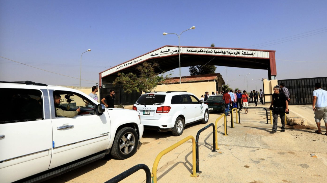 Vehicles drive through the Jaber-Nassib border crossing on Oct. 15, 2018 in light of the reopened border between Jordan and Syria. Photo:  EPA/Shutterstock