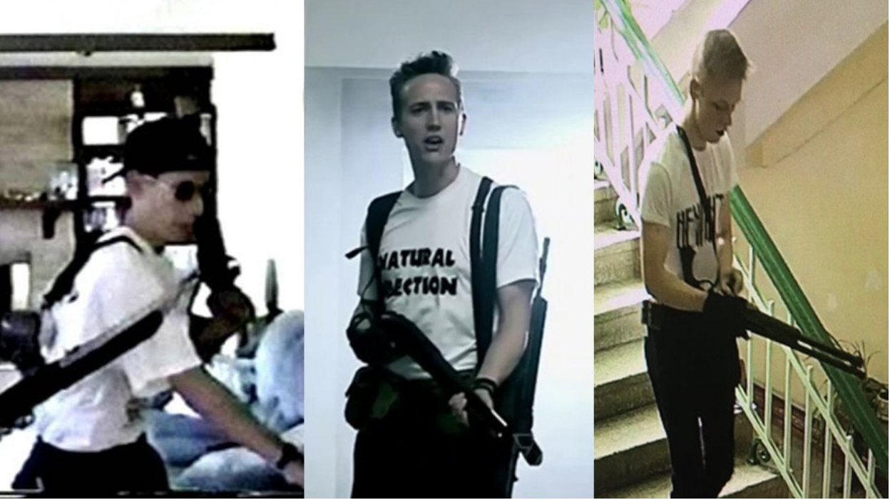 RT, a news outlet sponsored by Moscow, shared this picture on Twitter to display the physical similarities between the Crimean and Columbine school shooters. Credit:  RT