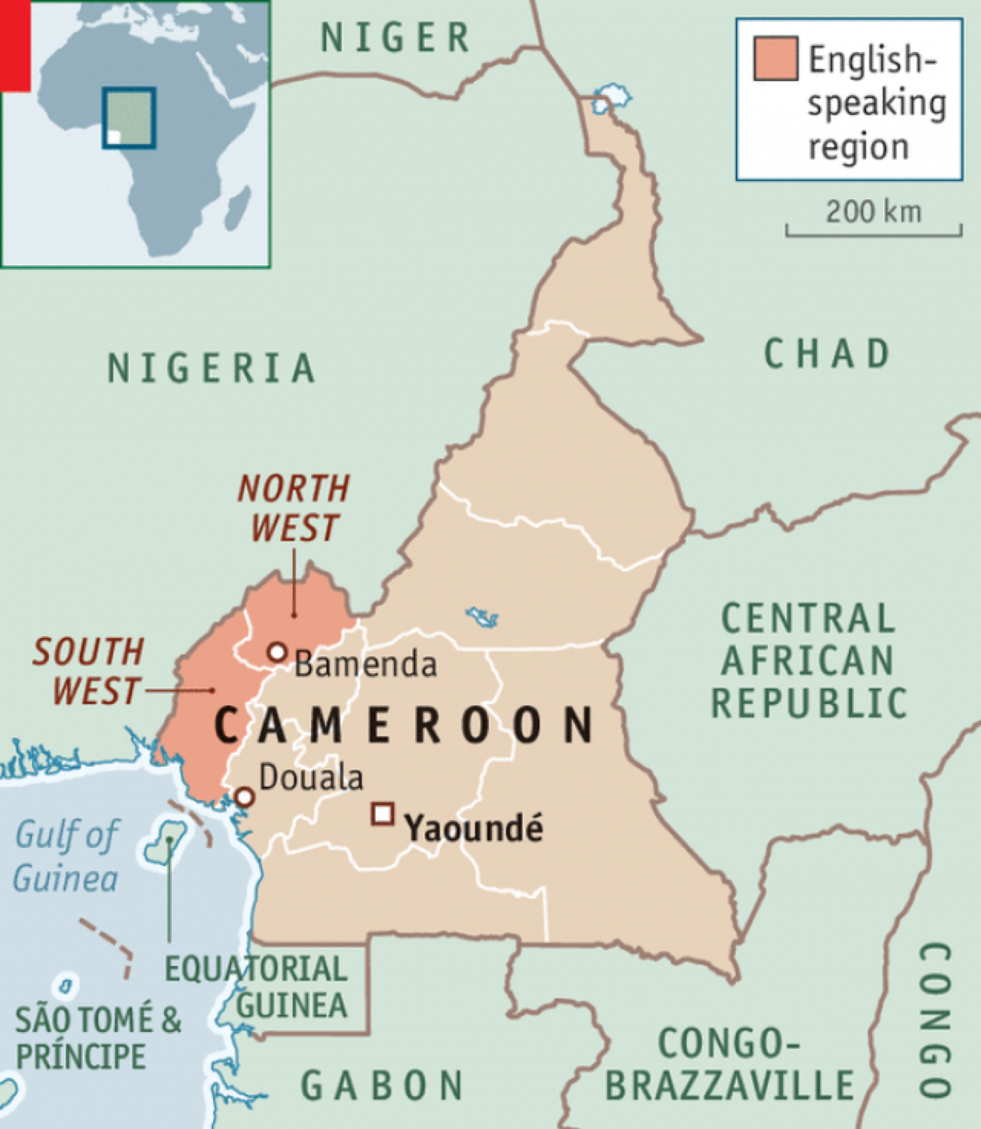 A map of Cameroon's different provinces highlighting the two English-speaking provinces in the North and South West. Photo: Economist.com/ The Economist.