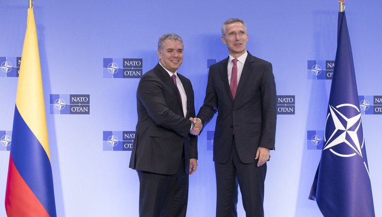 Secretary General Jens Stoltenberg welcomes Colombian President Iván Duque Márquez  to NATO headquarters on Tuesday,  Oct. 23. Source:  NATO