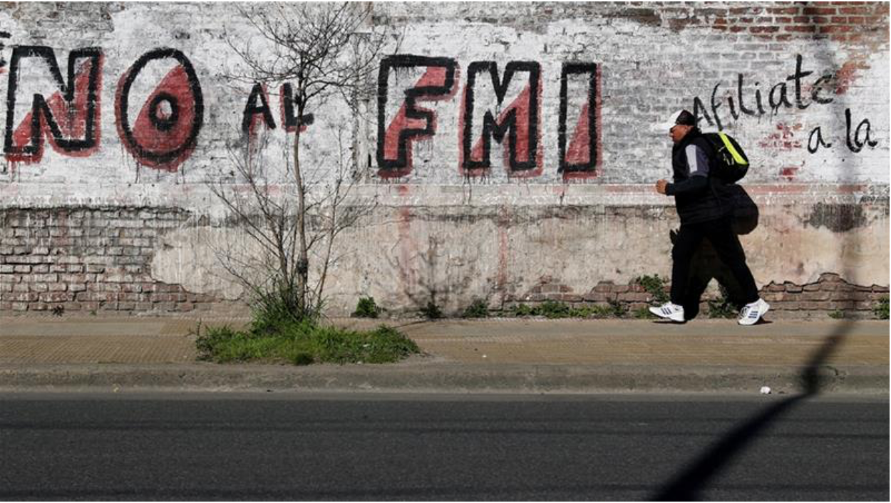 "Street arts reads: ""No to the IMF""  Source: Marcos Brindicci/ Reuters/  Al Jazeera"
