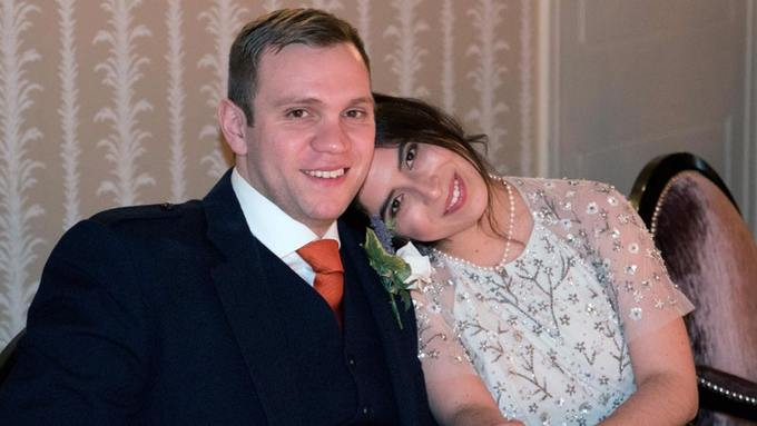 Matthew Hedges with his wife Daniela Tejada.    Photo: PA