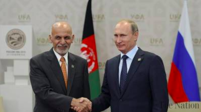 Afghanistan's President Ashraf Ghani pictured with Russia's President Vladimir Putin;  Photo: The Nation