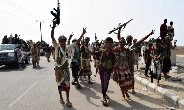 Abdrabbuh Mansur Hadi's forces take part in operations against Houthi positions in Hudaydah.  Credits: STRINGER/EPA