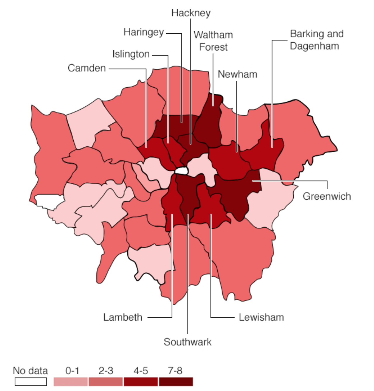 Number of murders in different London boroughs from Jan to Sept 2018.  Source: Met Police
