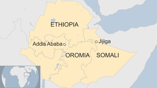 Map of Somali and Oromia region in Ethiopia. Credit:  BBC