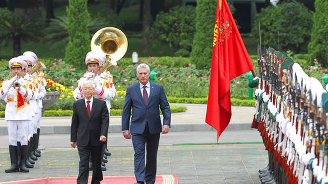 Vietnamese President Nguyen Phu Trong, left and Cuban President Miguel Diaz-Canel, Friday, Nov. 9, 2018. Diaz-Canel is on a three-day visit to Vietnam to boost ties as part of his first international tour. Credit:  The Wichita Eagle