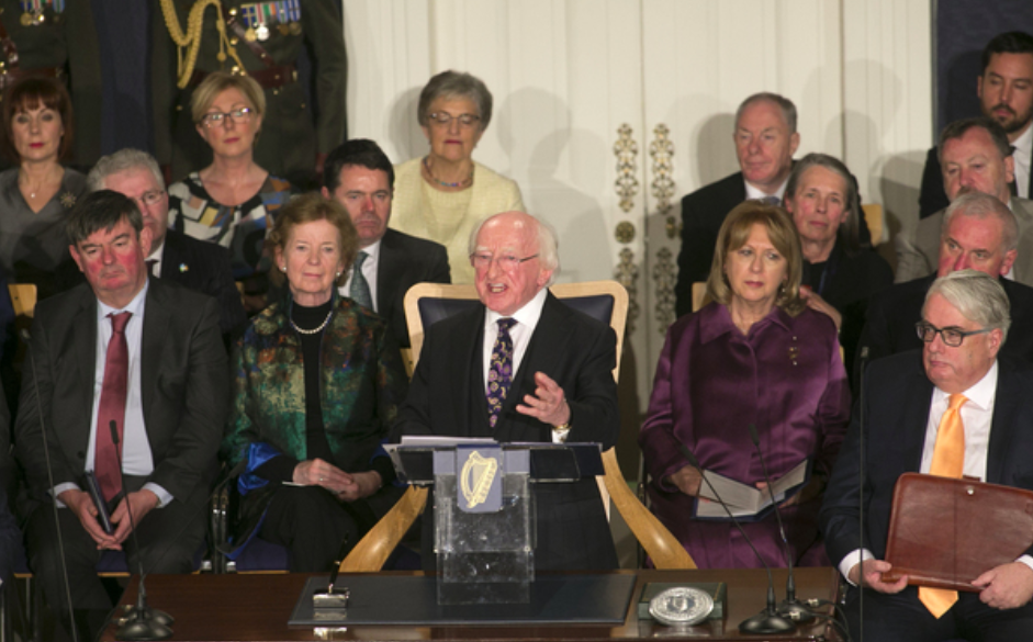 In his inaugural speech, Irish President Michael D. Higgins addresses a small group including Taoiseach Leo Varadkar and other government representatives. Photo: Sam Boal/ The Journal