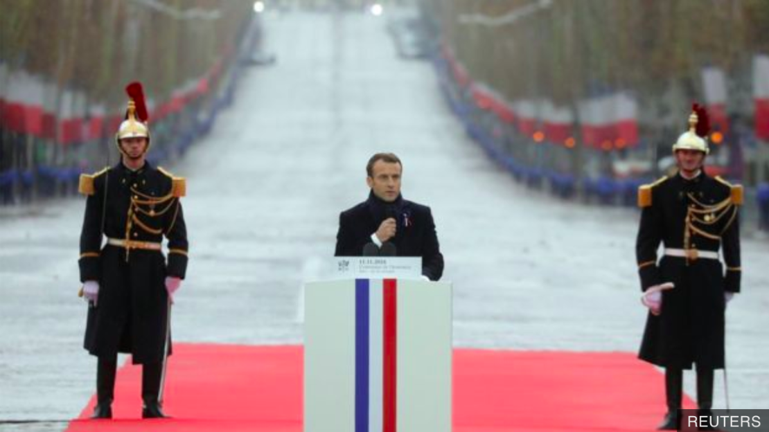 President Macron delivering his Armistice Day speech at the Champs Elysées. Source:  Reuters