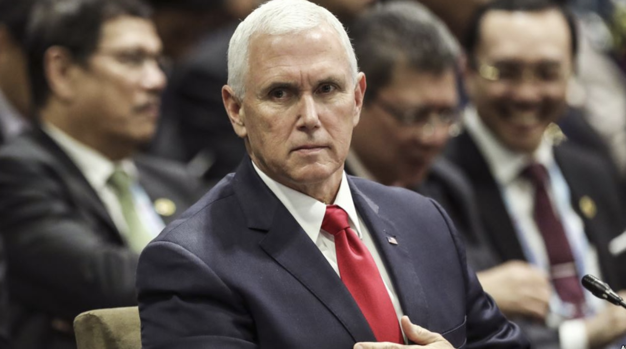 On the sidelines of the 33rd ASEAN summit in Singapore, US Vice President Mike Pence attends the 13th East Asian Summit Plenary on Nov. 15, 2018. Credit:  AP