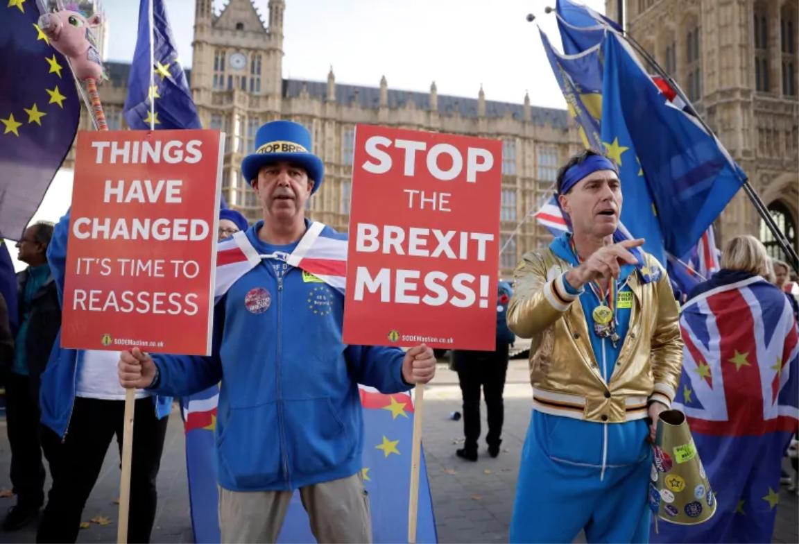 Anti-Brexit demonstrations outside Parliament. Photo:  Matt Dunham/Associated Press .