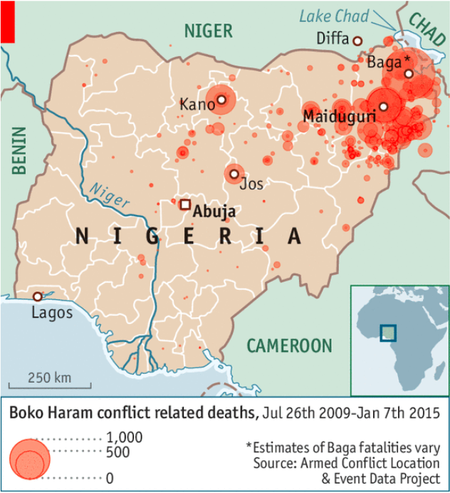 For the last two decades, Boko Haram has led an insurgency against the Nigerian government, harming tens of thousands of civilians and displacing millions. Photo:  The Economist