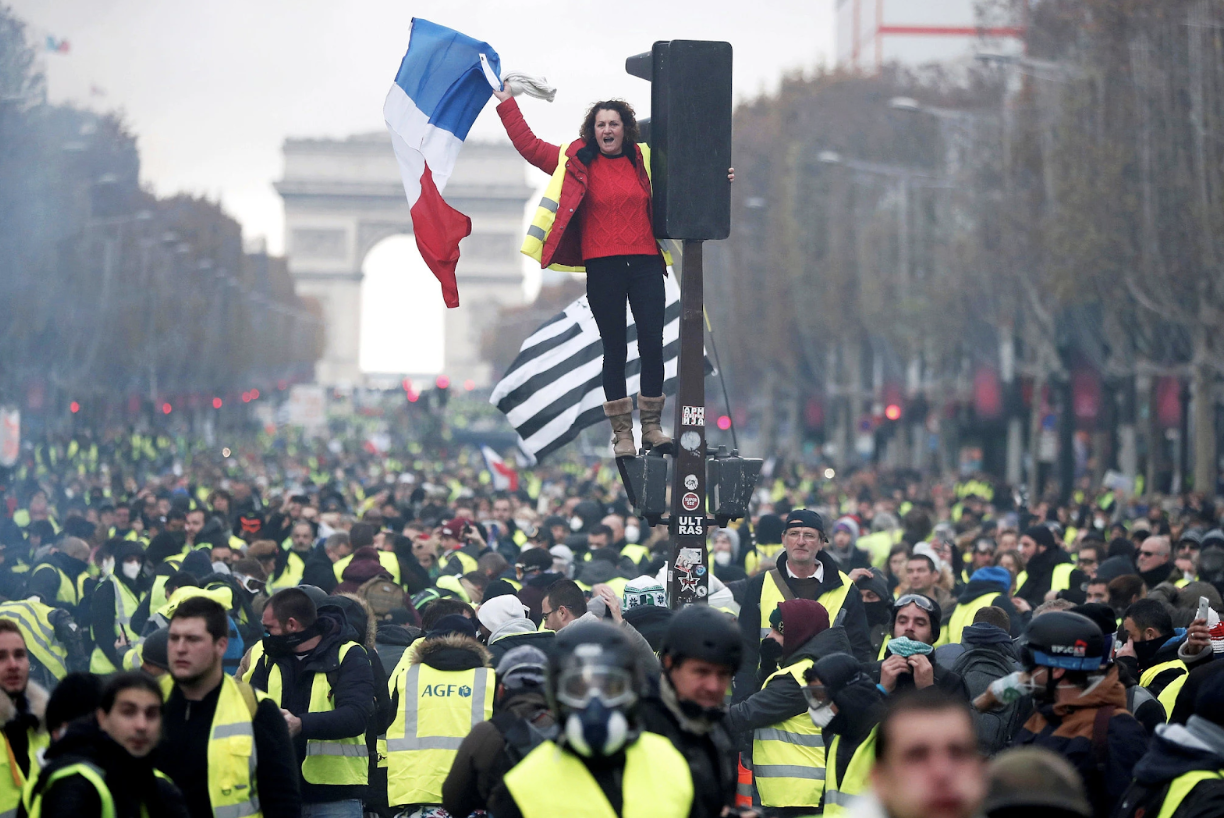 Protesters gather in France for a second weekend to contest a proposed gas tax rise. Source:  Benoit Tessier/Reuters