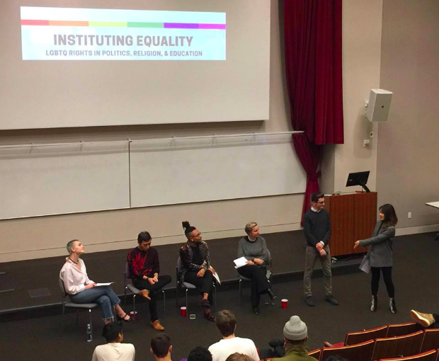 (From left to right) Facilitate Equity Co-founder Kirra Klein, Alfonso Nam, Christopher Griffin, Reverend Mary Cat Young, NYU College Democrats Secretary Arman Becan, and International Relations Society President Xiying Huangfu Photo: Facilitate Equity