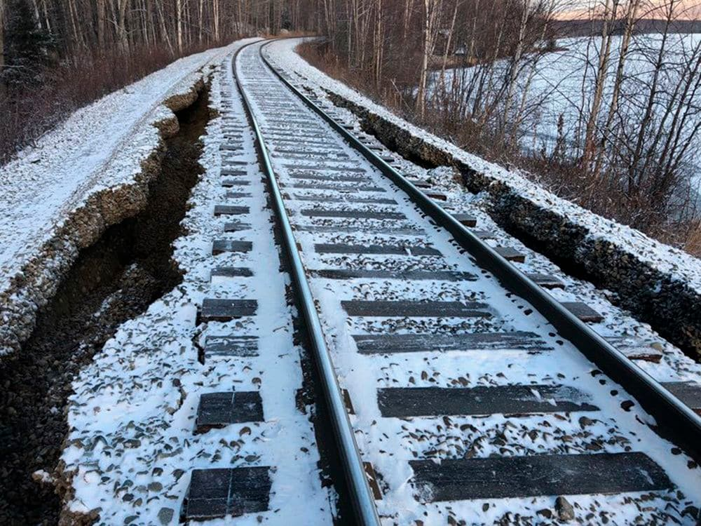 Railroad Damaged by the Quakes in Willow, Alaska  Photo:  Lloyd Tesch/Alaska Railroad Corp./AP Photo