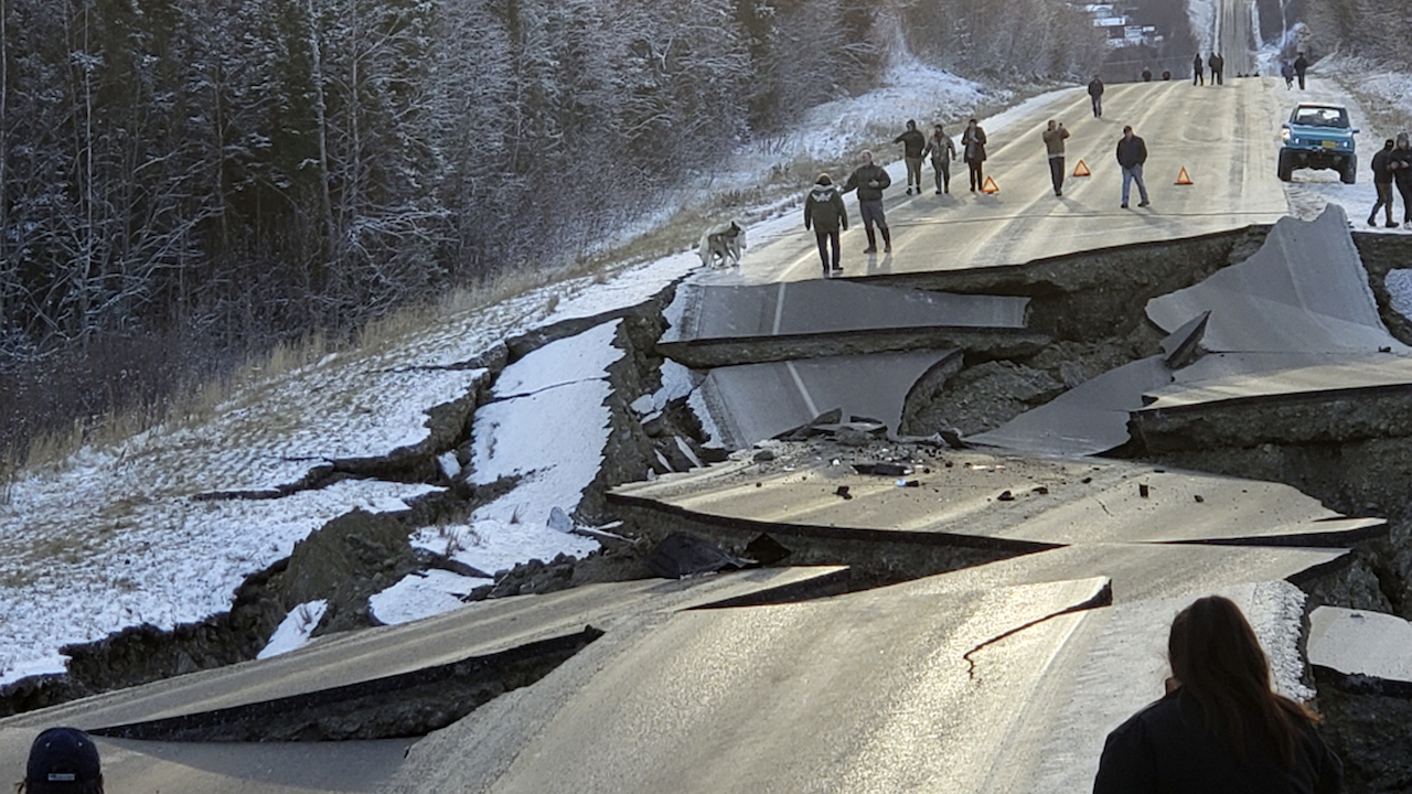 Shattered Highway near the Alaskan Capital of Anchorage  Photo:  Jonathon M. Lettow/ AP Photo