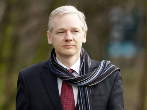 Julian Assange who is currently living in the Ecuadorian Embassy in London  Photo:  AP