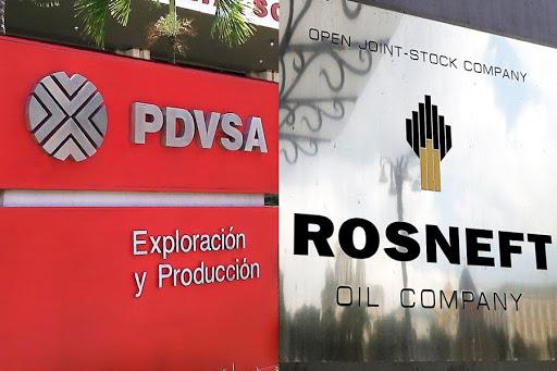 Left, PDVSA the Venezuelan state oil company; Right, Rosneft the Russian state oil company. Photo.    Source: Merco Press