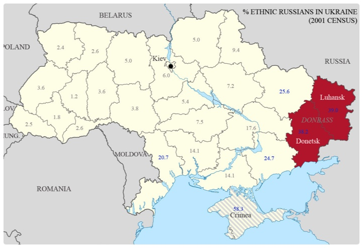 Map of Ukraine, with Donbas region in red. Credit:  Adding To The Beauty
