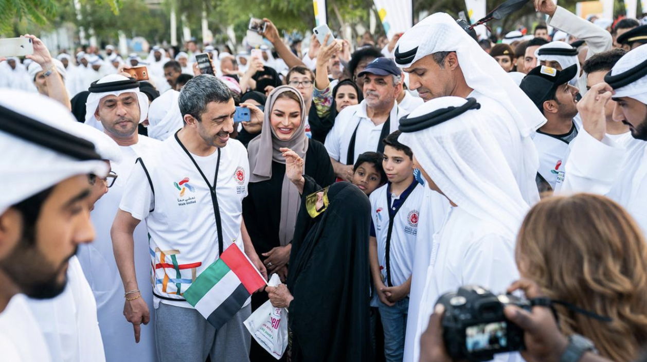 Sheikh Abdullah bin Zayed and hundreds of people participate in the Walk of Tolerance in Abu Dhabi in October. Credit:  The National