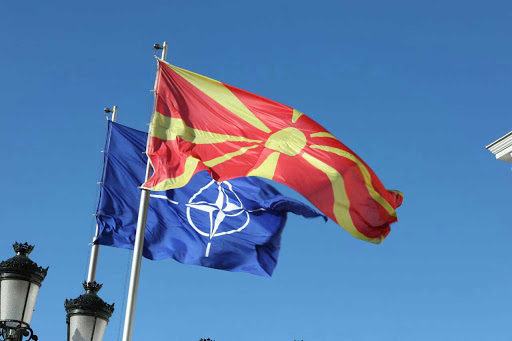The flags of the North Atlantic Treaty Organization and the Republic of Macedonia. Photo.    Source: IBNA
