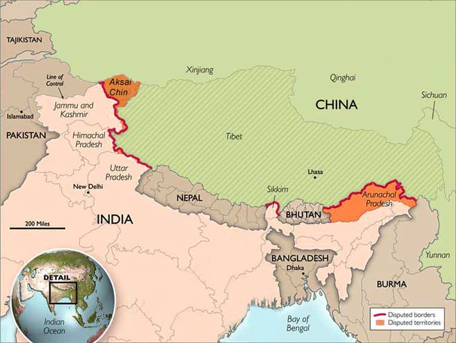 India and China contest sovereignty over two separate regions on their border: Aksai Chin, in India's northern frontier and China's western frontier; and Arunachal Pradesh, in northeastern India and southwestern China. Credit:  The Heritage Foundation