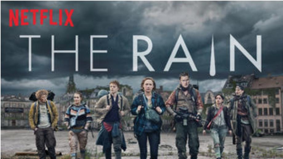 Title card for  The Rain , a Netflix original series from Denmark. Photo:  Netflix