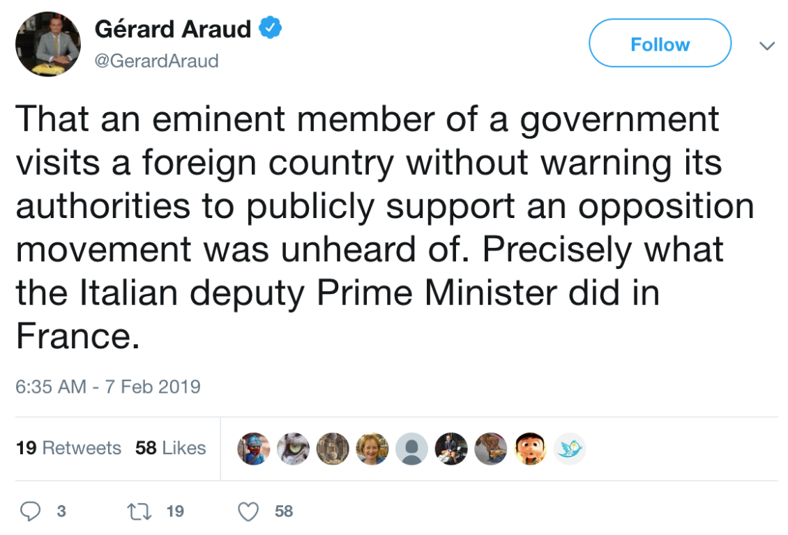 Gerard Araud, French Ambassador to the U.S., conveys his disapproval of the meeting. Source:  Twitter