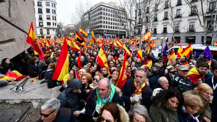 The protest was led by the newly-formed far-right party Vox, the center-right party Ciudadanos (citizens), and the conservative Popular Party (PP). Photo:  AFP
