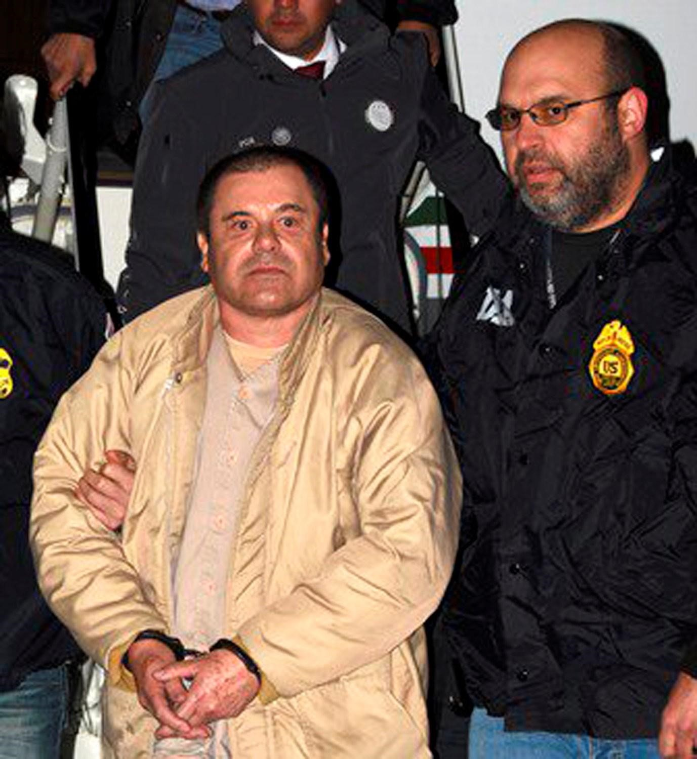 El Chapo arriving in New York in 2017, shortly after his extradition. Photo:  Drug Enforcement Administration/The New York Times .