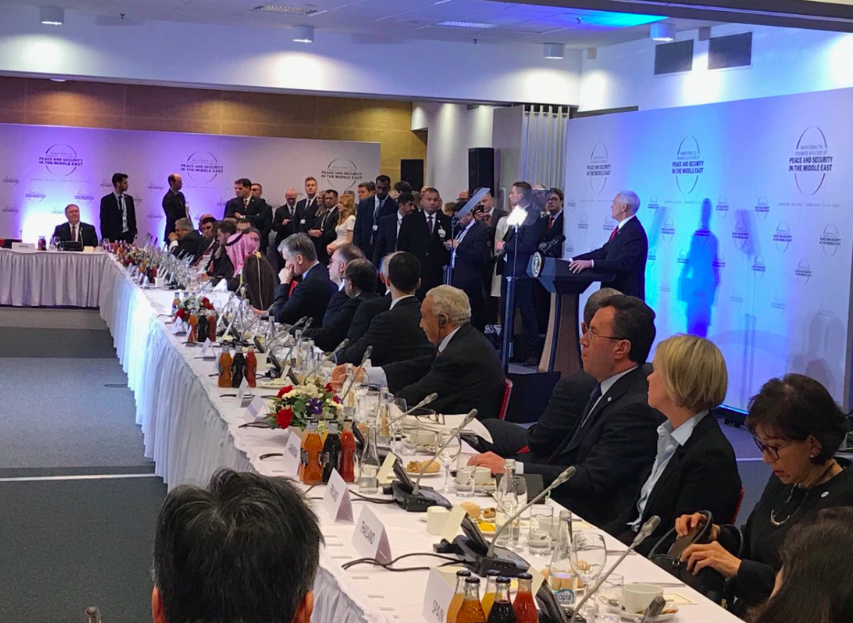 A speech at the Warsaw Conference for Middle Eastern peace, attended by about 60 nations.  Credit : Twitter/Jason Greenblatt