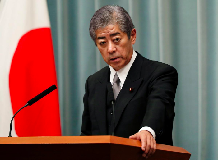 File photo of Japan's Minister of Defense Takeshi Iwaya at a news conference at Prime Minister Shinzo Abe's official residence in Tokyo in October 2018. Credit:  Issei Kato/REUTERS