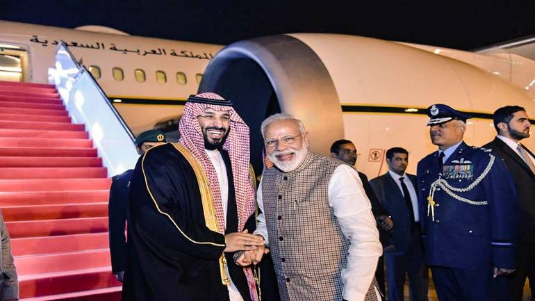 Prime Minister Modi receives Saudi Arabian Crown Prince Mohammad bin Salman at the New Delhi airport; Photo:  Moneycontrol