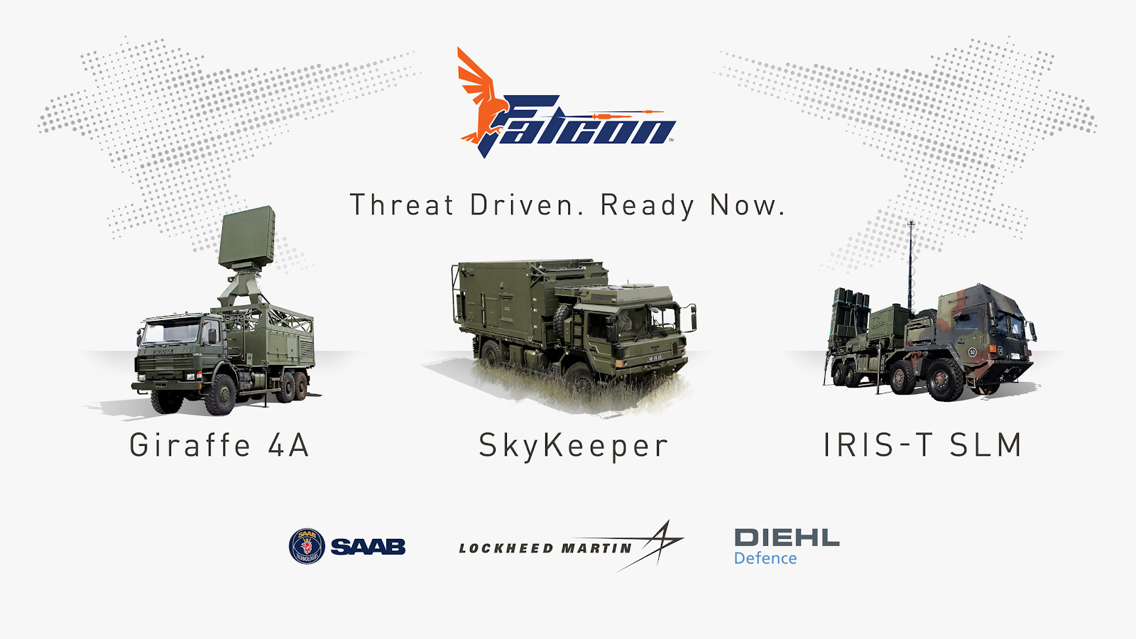 Promotional material showing the three primary components of the Falcon Air Defence System (from left to right: the Saab Giraffe 4A radar, the Lockheed Martin SkyKeeper battle management system, and the Diehl IRIS-T-SLM launche). Source:  Lockheed Martin