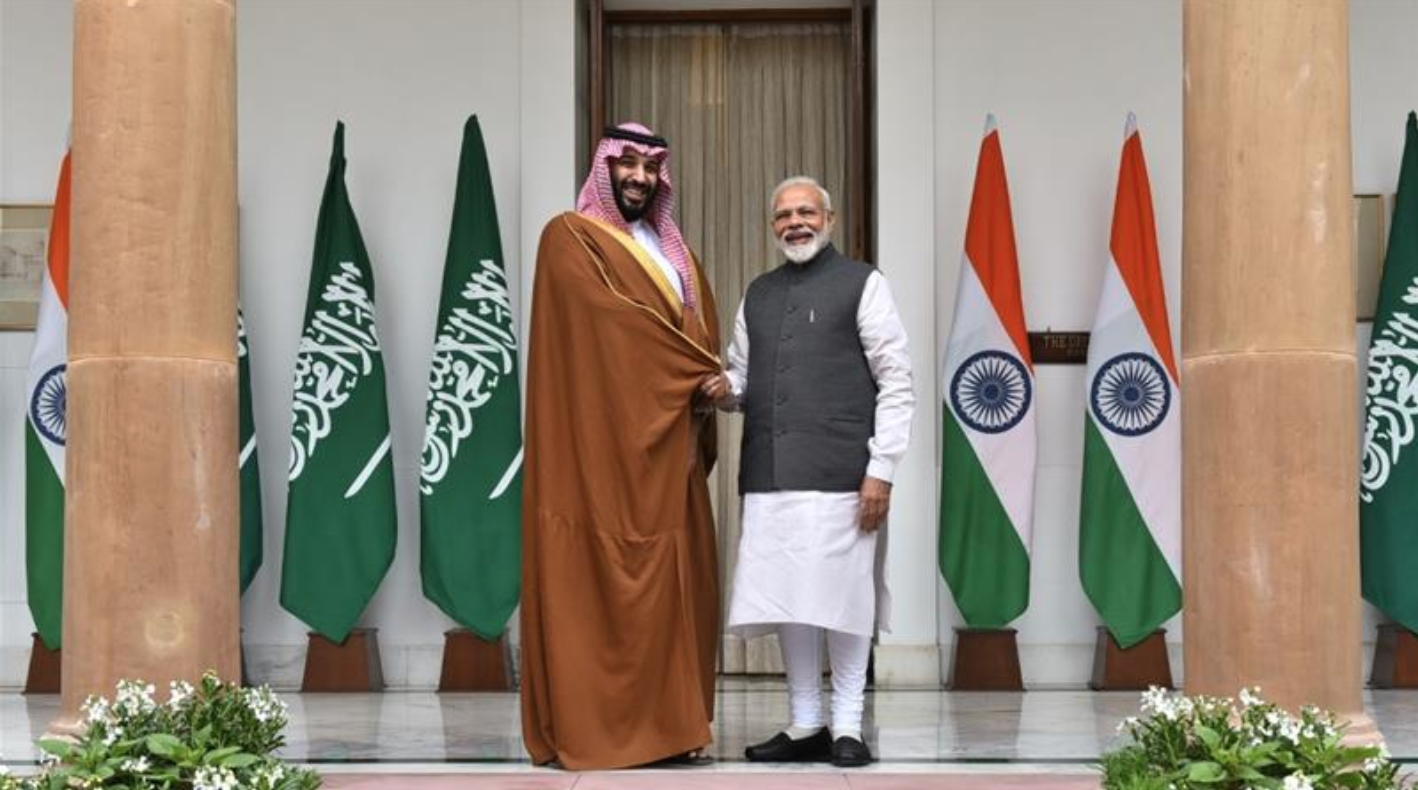 Crown Prince Mohammad Bin Salman and Prime Minister Narendra Modi at the presidential palace in New Delhi.  Photo:  Anadolu Agency/Aljazeera