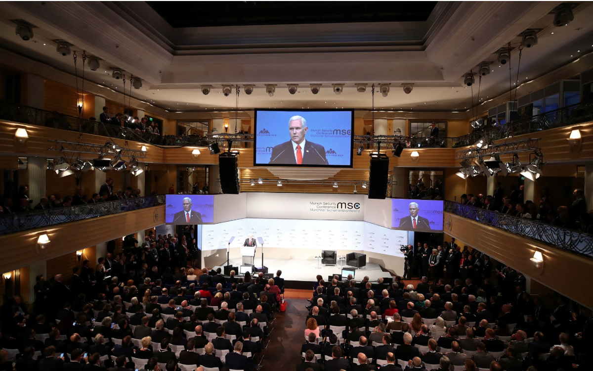Mike Pence giving his speech at the Munich Security Conference. Photo: Michael Dalder/ Reuters