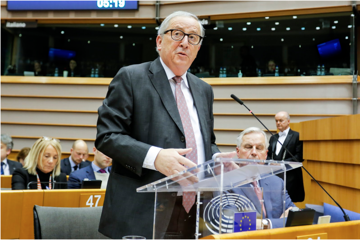 Luxembourger Jean-Claude Juncker, President of the European Union's European Commission (EC) from the European People's Party (EPP), gives opening statements at the Jan. 30, 2019 plenary session of the European Parliament on the matter of Brexit. Photo:  European Parliament/Daina Le Lardic