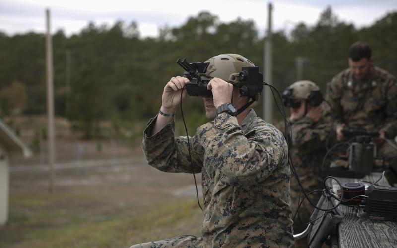 November 29, 2018: A US Marine tests an augmented reality headset. Photo credit: Tayler P. Schwamb