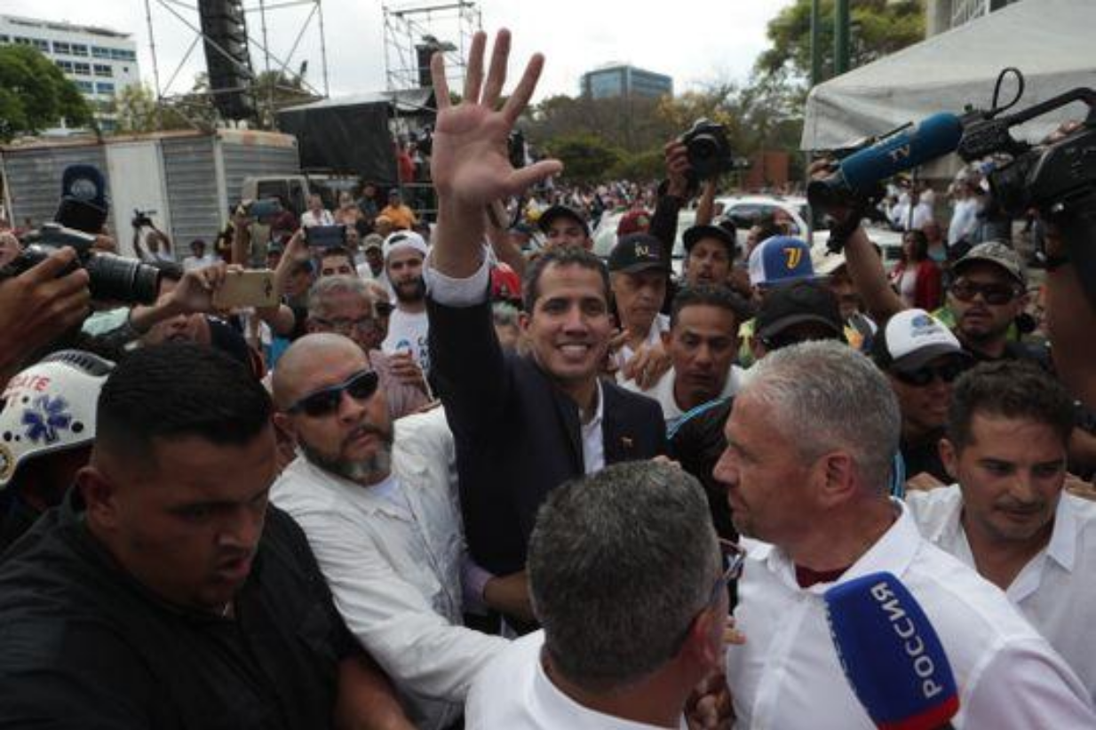 Juan Guaidó arriving to a rally in Caracas.  Photo:  USA Today