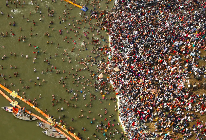 Aerial view of pilgrims dipping in Sangam. Photo:  Rajesh Kumar Singh/AP.