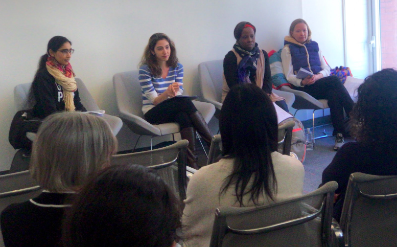 Panelists Beenish Riaz (far left), Nikta Daijavad (center left), Juliette Caduche (center right), and Ellie Happel (far right) addressing questions from attendees
