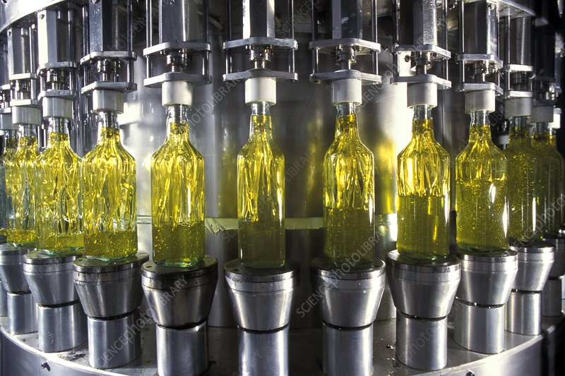 The bottling of olive oil at the Carapelli factory in Florence. Photo: Patrick Landmann / Photo:  Science Photo Library