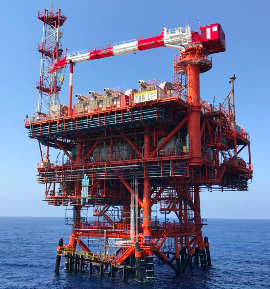 A field control platform in the Zohr gas field. Photo:  Eni