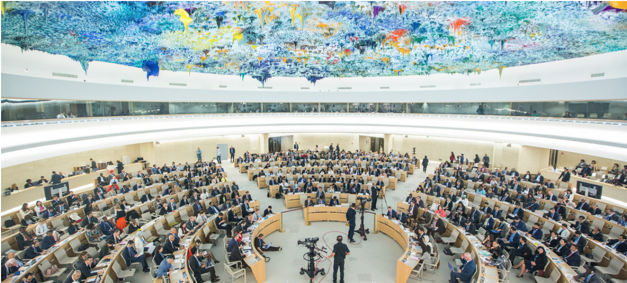 "The Human Rights Council meets in a special session on ""the deteriorating human rights situation in the occupied Palestinian territory, including East Jerusalem"" on May 18, 2018 in the United Nations Office in Geneva. Photo:  Elma Okic/UN Photo"