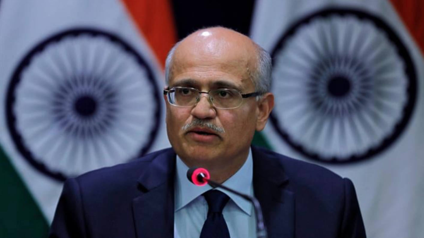 Foreign Secretary Vijay Gokhale met with Under Secretary Andrea Thompson during his recent three-day trip to Washington D.C.  Photo:  Adnan Abidi/Reuters