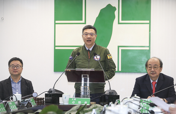 DPP Chairman Cho Jung-tai at a news conference at party headquarters on March 20, 2019. Photo:  Central News Agency