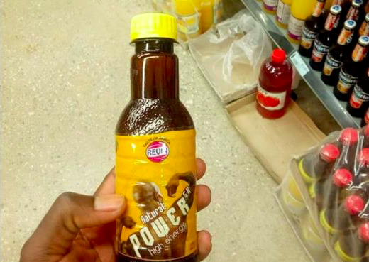 Power Natural High Energy Drink SX, an energy drink made in Zambia, has been banned. Photo: Unknown/ Whatsapp via BBC