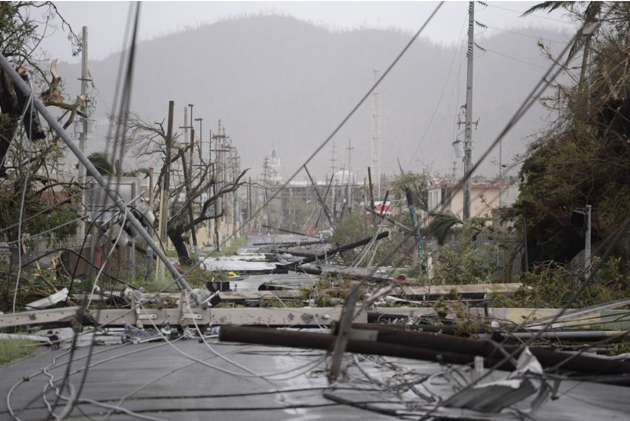 Fallen power lines in Puerto Rico after Hurricane Maria hit the island. Photo: Carlos Giusti /  Associated Press