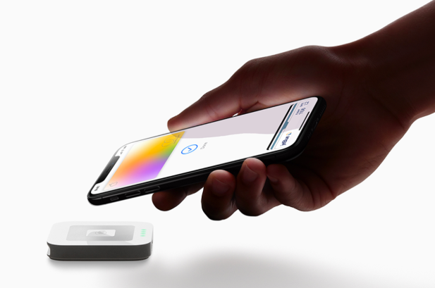 The Apple Card being used in Apple Wallet with an NFC payment device. Photo: Press Release /  Apple